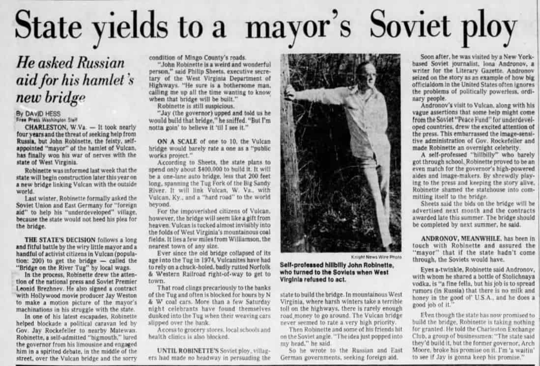 A West Virginia Town Applied For Soviet Foreign Aid, and Other Lesser Known American History Facts